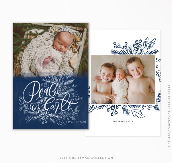 2018 Christmas 5x7 Photo Card | Blue Holiday