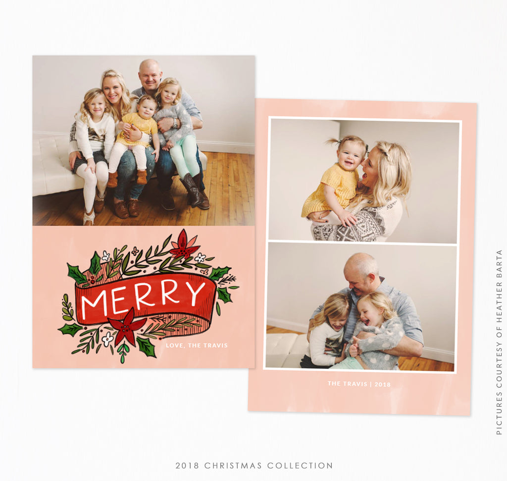 2018 Christmas 5x7 Photo Card | Merry Floral