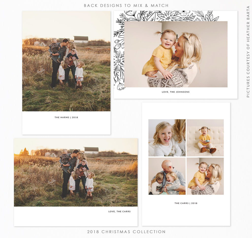 2018 Christmas 5x7 Photo Card Bundle | Gold and Glitter