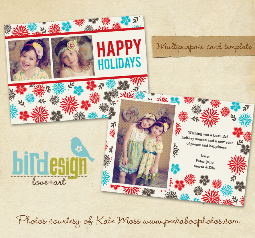 Holiday Photocard | Winter flowers