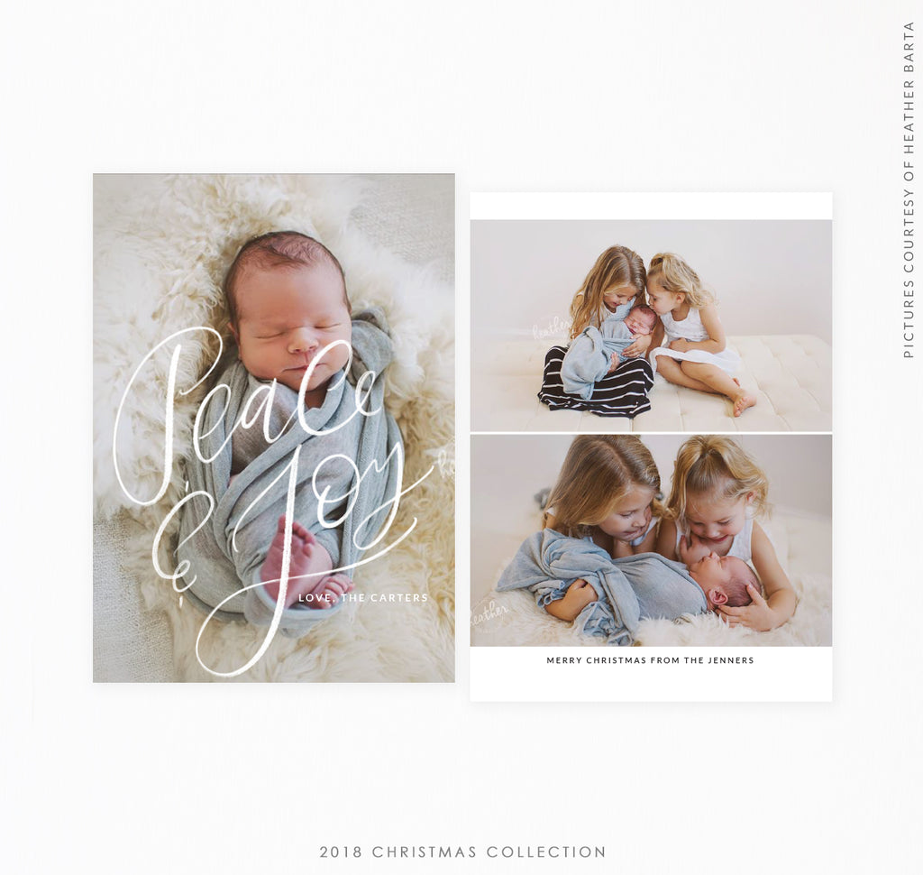 2018 Christmas 5x7 Photo Card | Peace & Joy lettering