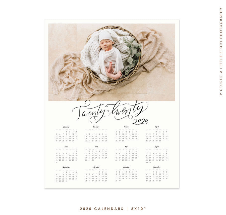 8x10 | 2020 calendar template | Fresh year