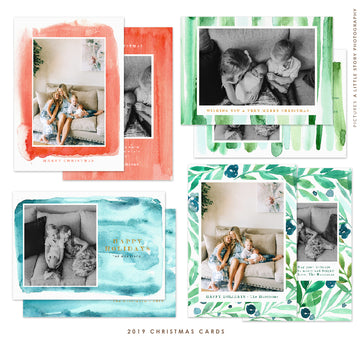 2019 Christmas 5x7 Photo Card Bundle | Peaceful Watercolors