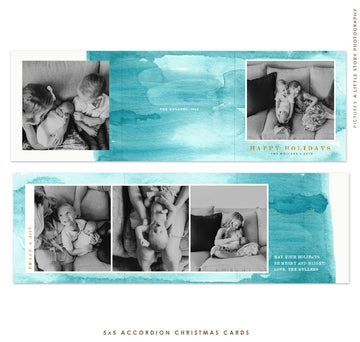 Holiday accordion card 5x5 (Trifolded) | Christmas Skies