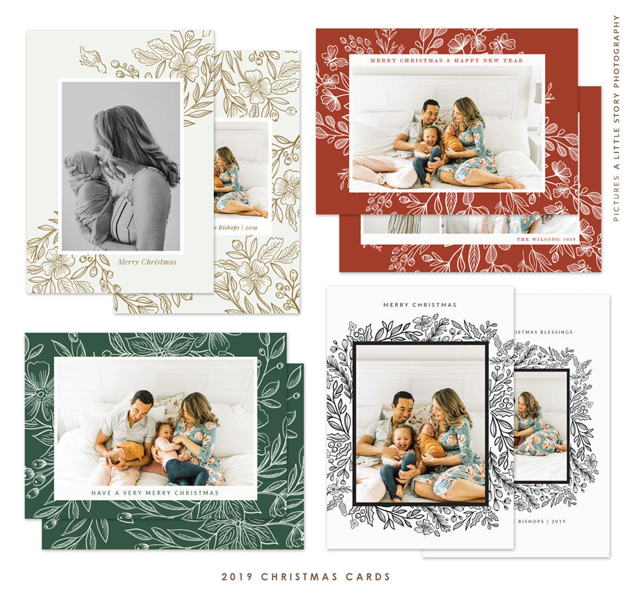 2019 Christmas 5x7 Photo Card Bundle | Floral Elegance