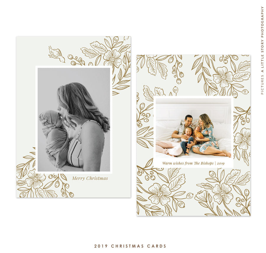 2019 Christmas 5x7 Photo Card | Gold and Pure