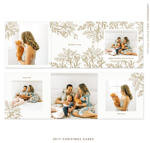 Holiday accordion card 5x5 (Trifolded) | Gold Grace