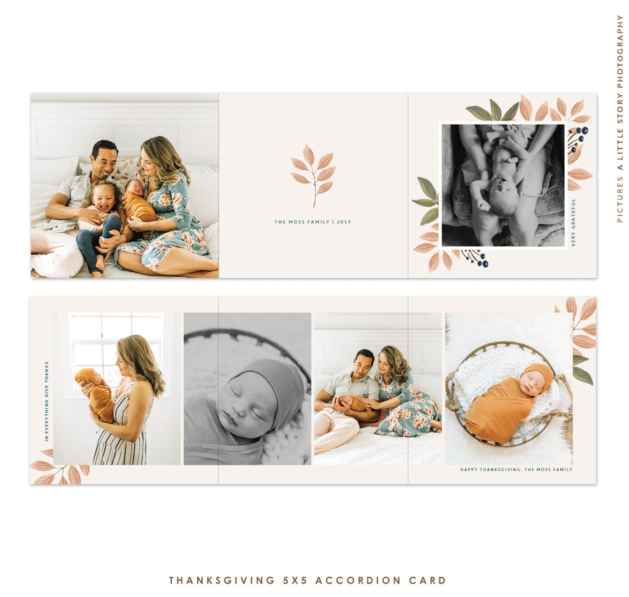 Thanksgiving accordion card 5x5 (Trifolded) | Sweet Autumn