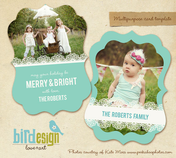 Holiday Ornate Photocard | Chic portrait