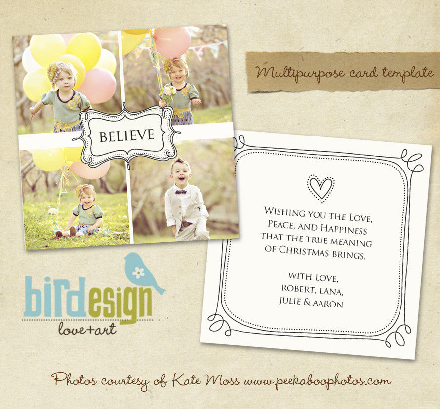 Holiday Photocard Template | Believe