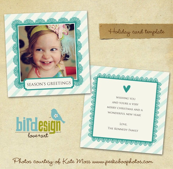 Holiday Photocard Template | Turquoise heart 5x5