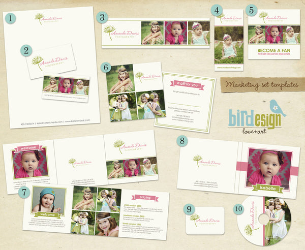Marketing sets for photography, photoshop templates