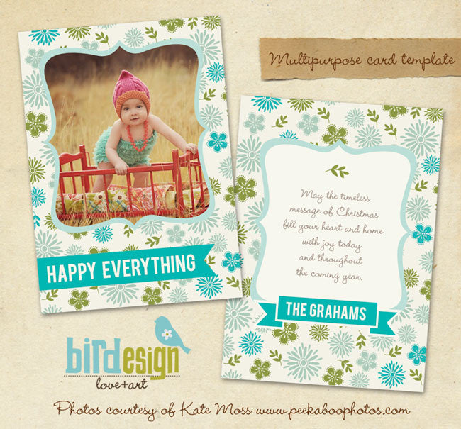 Holiday Photocard | Festive Flowers