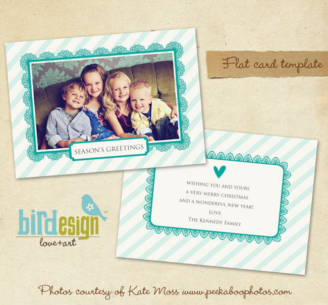 Holiday Photocard Template | Turquoise heart 5x7