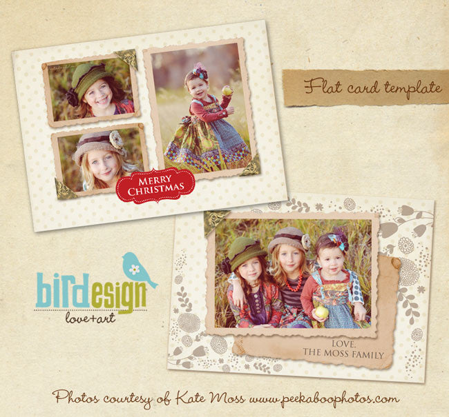 Holiday Photocard | Vintage girls Landscape