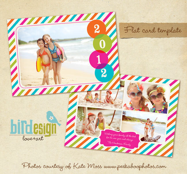 New Year Photocard Template | Rainbow style