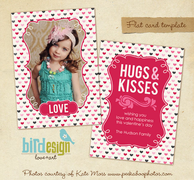 Valentine Photocard Template | Pink Hugs