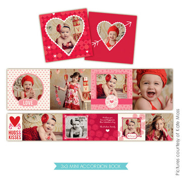 Valentine accordion mini 3x3 | Cupid Hearts