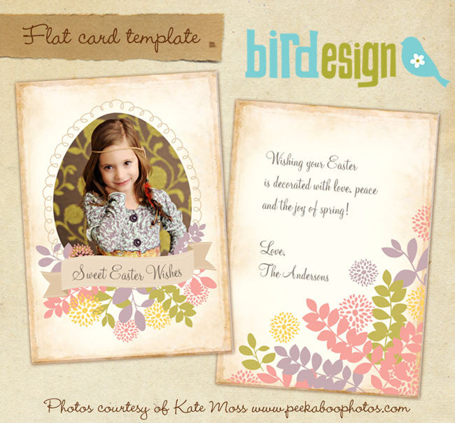 Easter photo card | Floral easter