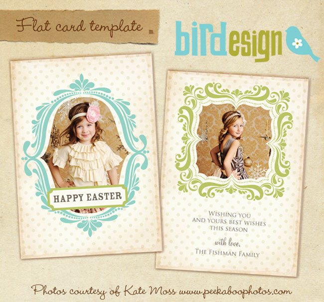Easter photo card template, templates for photographers
