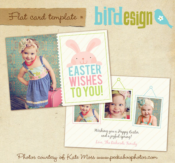 Easter photo card | Playful bunny