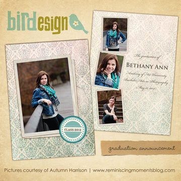 Graduation announcement digital template for photographers