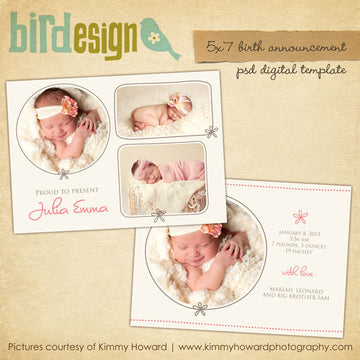 Birth Announcement | Cream Rose
