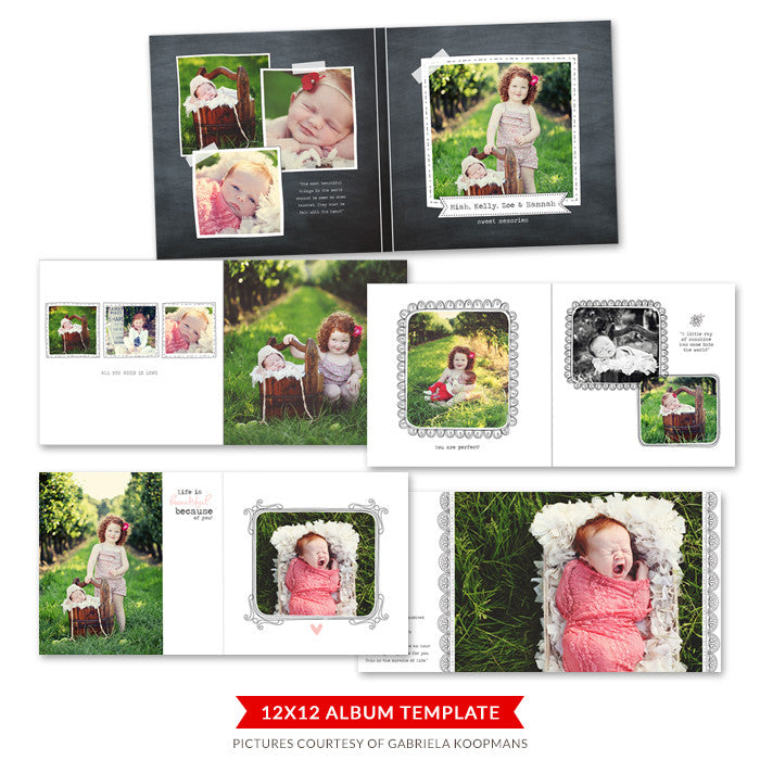 Blooming album |  12x12 Album template