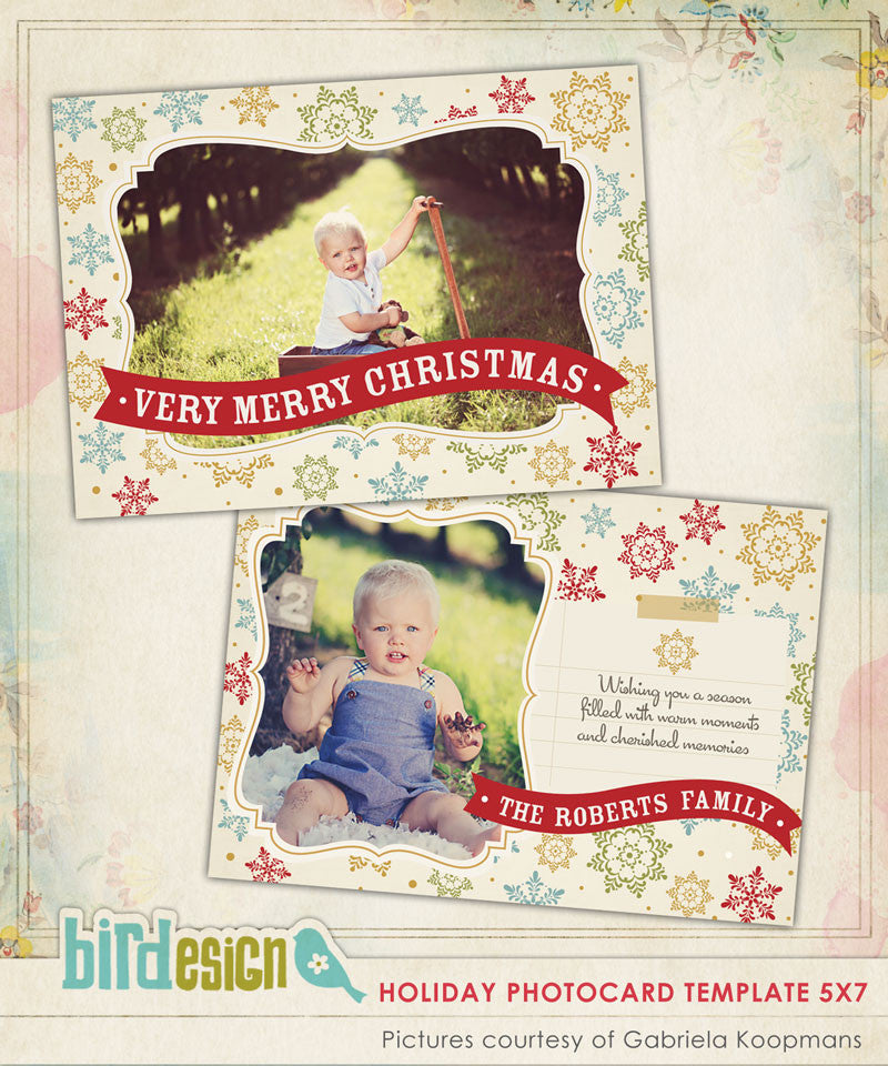 Holiday Photocard Template | Colorful Snowflakes