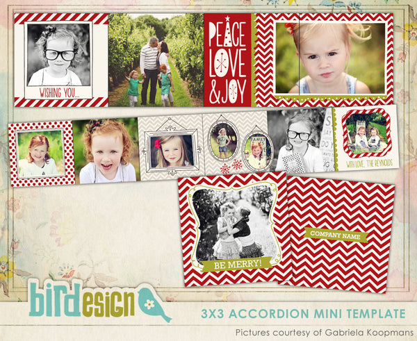 Accordion mini 3x3 | Cinnamon chevron