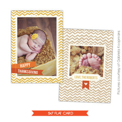 Thanksgiving Photocard Template | Whimsy Chevron