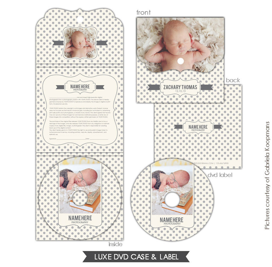 Luxe DVD case and DVD label | Baby dots