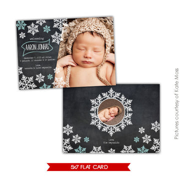 Holiday Photocard Template | Snowflakes shower