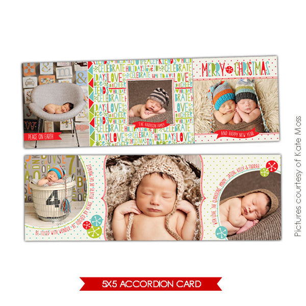 Holiday accordion card 5x5 | Celebrate Love