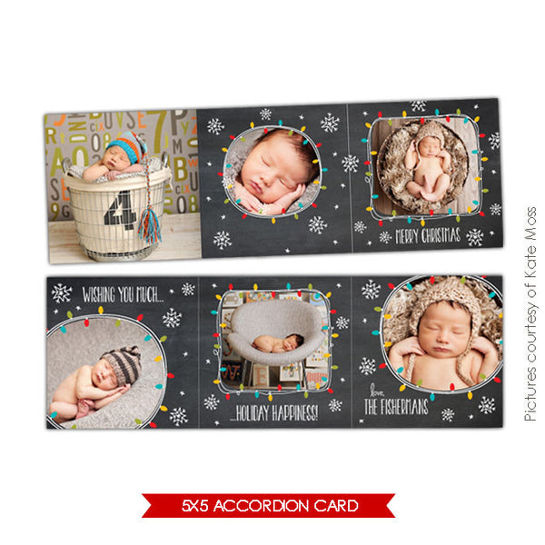 Holiday accordion card 5x5 | Lights & Stars