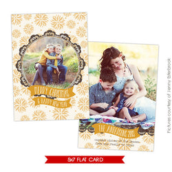 Holiday Photocard Template | Golden portrait