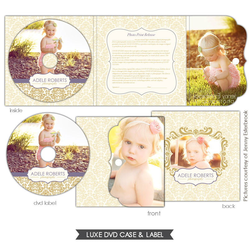 Luxe DVD case and DVD label | Purple & Gold