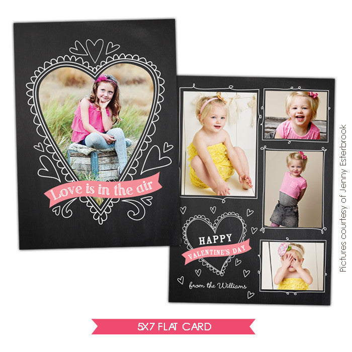 Valentine Photocard Template | Chalkboard heart