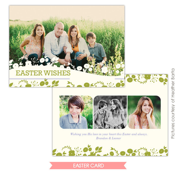 Easter photo card | Spring grass
