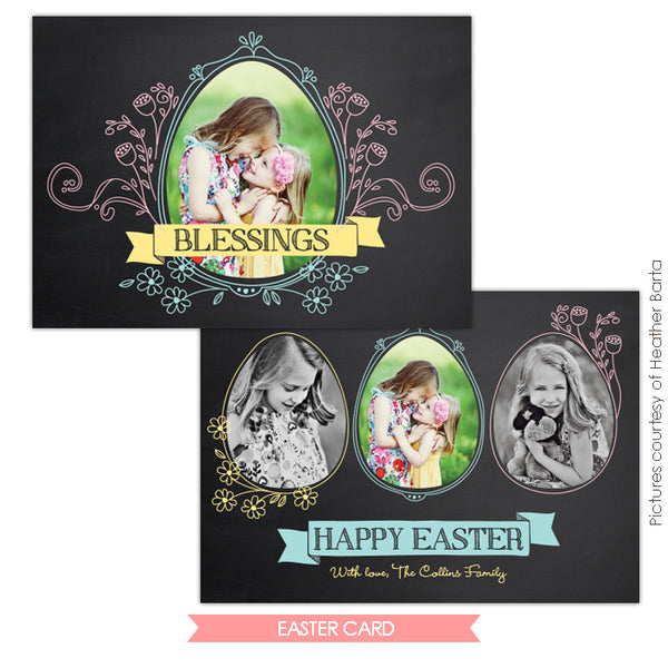 Easter photo card | Chalkboard Blessings