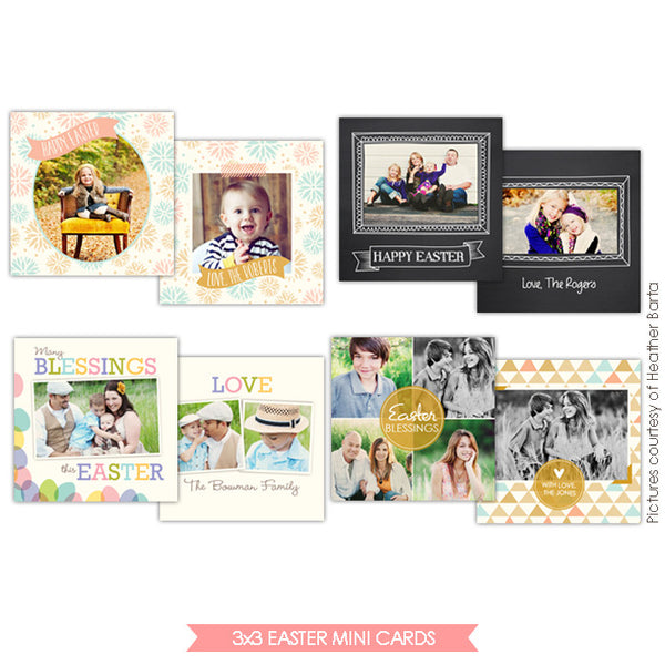 3x3 Easter Mini card templates | Springtime minis