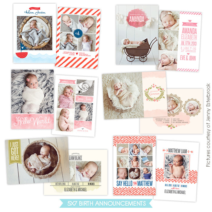 Birth Announcements bundle | Watercolor style