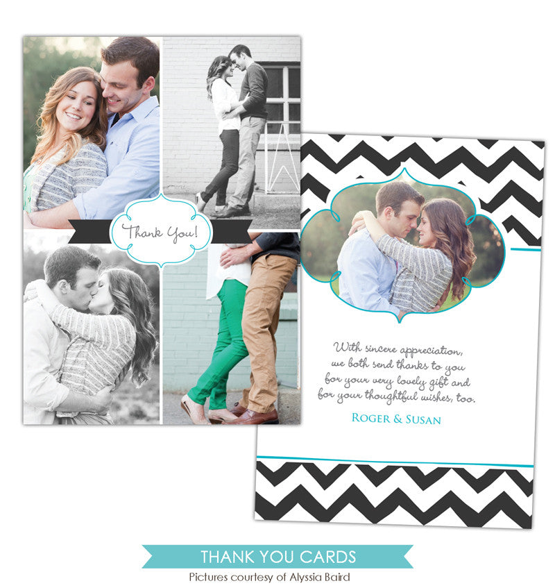 Wedding Thank You Card | Chevron Style