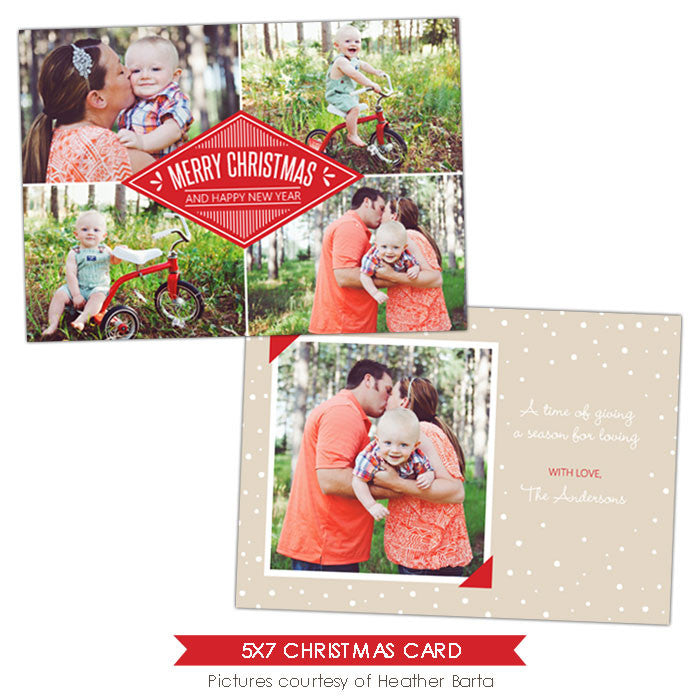 Christmas Photocard Template | White snow