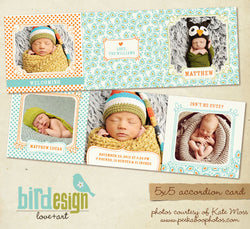 Baby accordion card 5x5 | Lovely Patterns