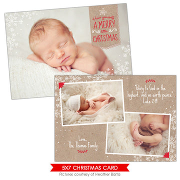 Christmas Photocard Template | Peace snowflakes