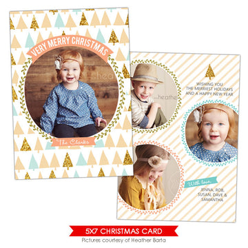 Christmas Photocard Template | Holiday trees