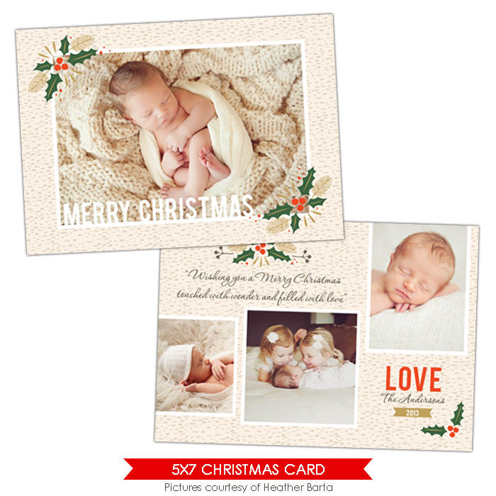 Christmas Photocard Template | Under the mistletoe