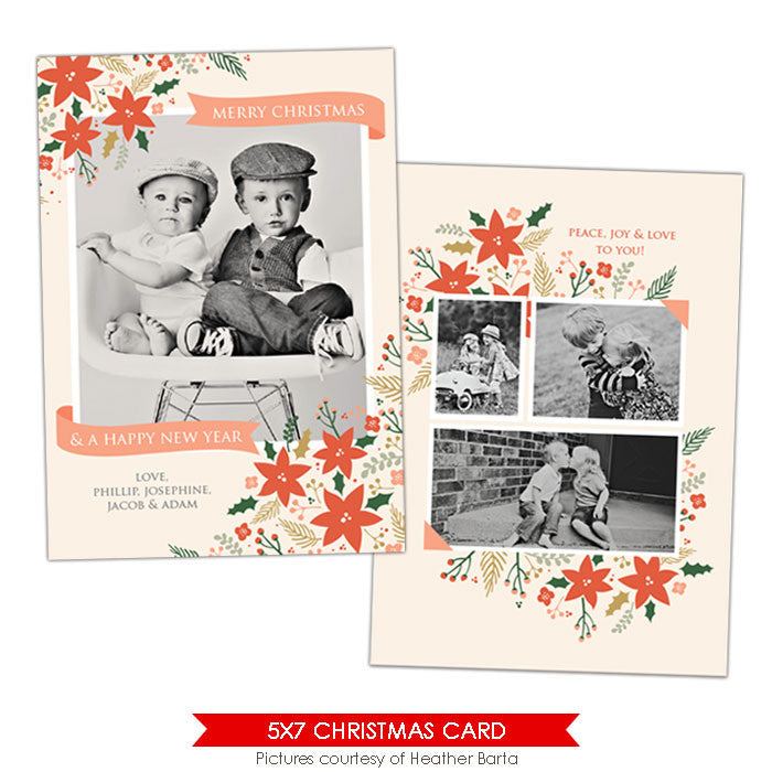 Christmas Photocard Template | Christmas gardens