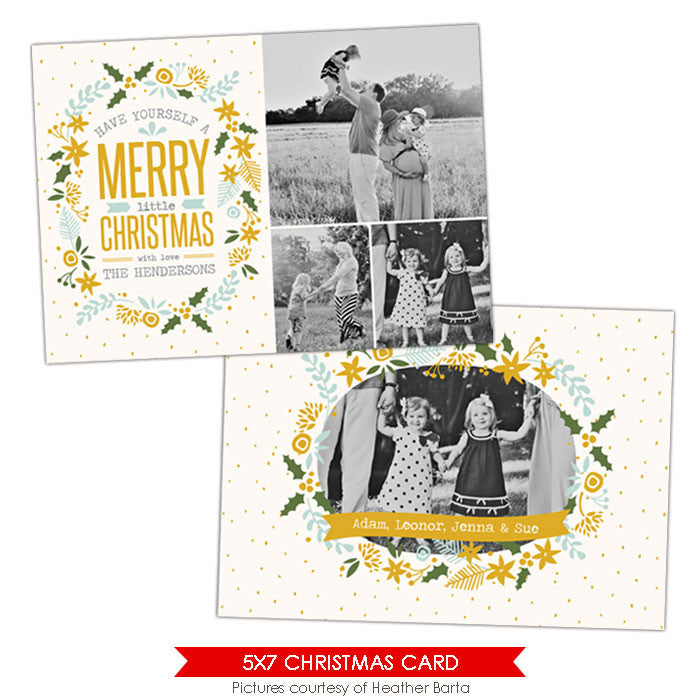 Christmas Photocard Template | Floral frames